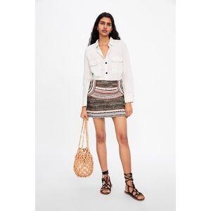 Zara Multicoloured Tweed Mini Embellished Skirt